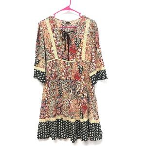 Bila floral mixed pattern boho chic dress size Sm
